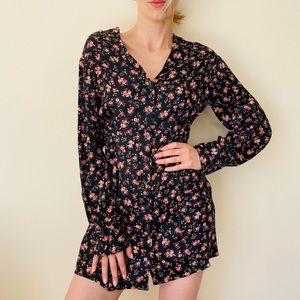 NWT Zara Long Sleeve Floral Print Mini Dress